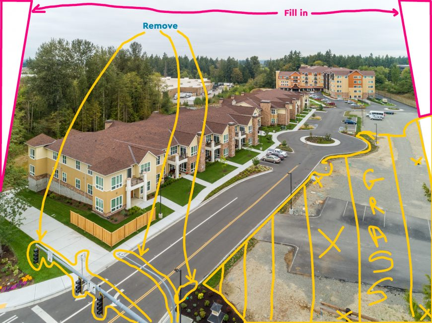 Construction aerial drone photography in Tacoma